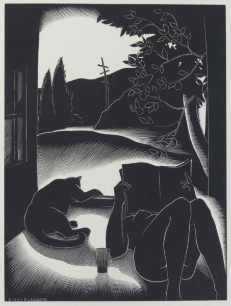 """3: LANDACRE, Paul. Wood Engraving """"Sultry Day."""""""
