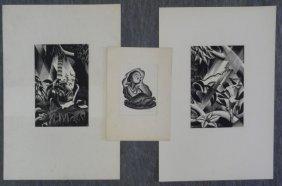 LANDACRE, Paul. 3 Wood Engravings.