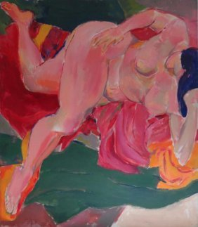 ETTINGER, Stephen. Large O/C A Of Reclining Nude.