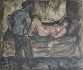 BASAGLIA, Vittorio. 1959 O/C Interior With Nude &