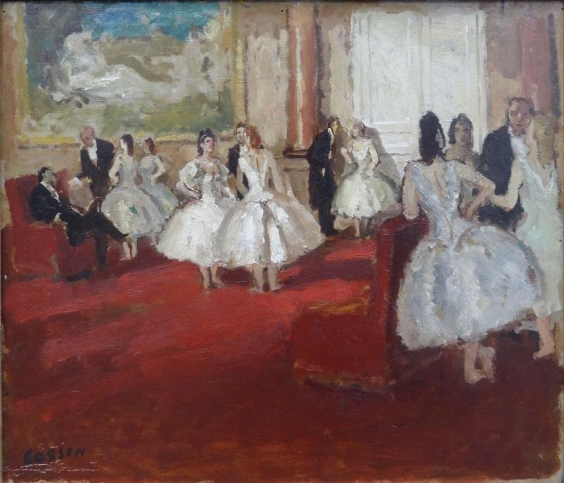 "17: COSSON, Jean. Oil on Panel ""Le Foyer de la Danse."""