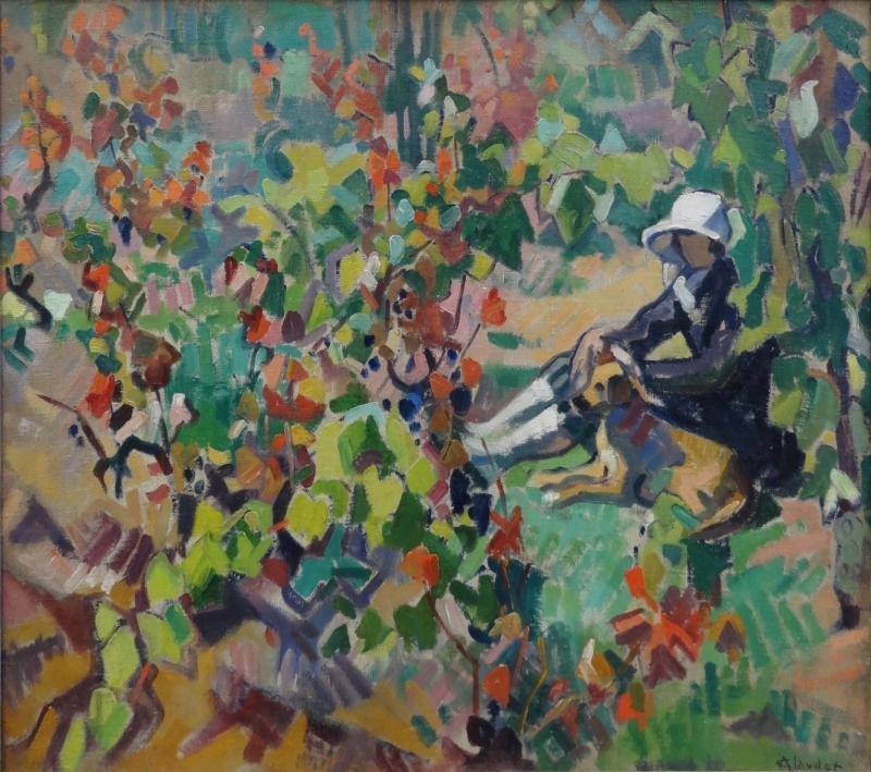 """18: CLAUDOT, Andrew. Oil on Canvas """"Dans La Vigne"""