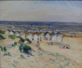"""19: SEBIRE, Gaston. Oil on Canvas """"Plage du Calvados."""""""