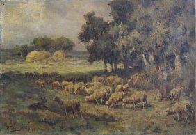 "22: DEYROLLE, Theophile-Louis. 1913 O/C ""Troupeau de"