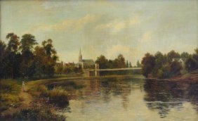 """23: HINES, Frederick. Oil on Canvas """"The Great Marlow"""