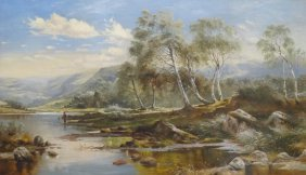 "24: POOLE, James. O/C ""Fisherman in Landscape."""