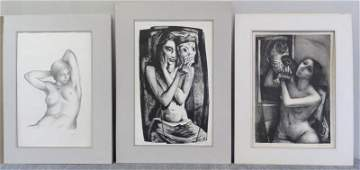 281: SPRUANCE, Benton. 3  Lithographs of Nudes.
