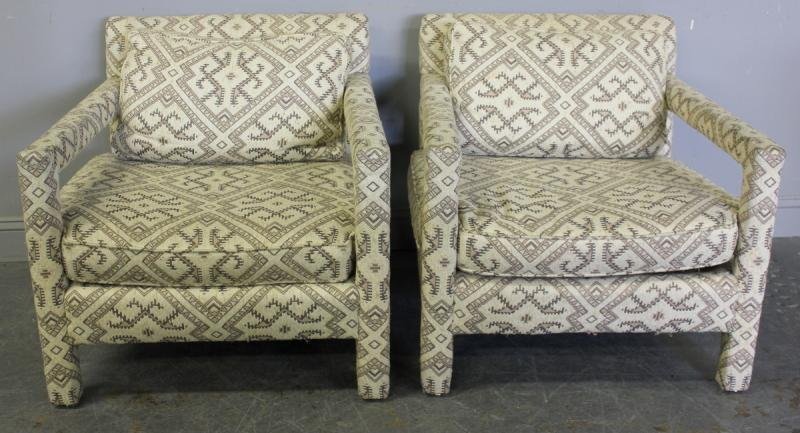 335: Pair of Bernhardt Flair Upholstered Chairs with a - 2