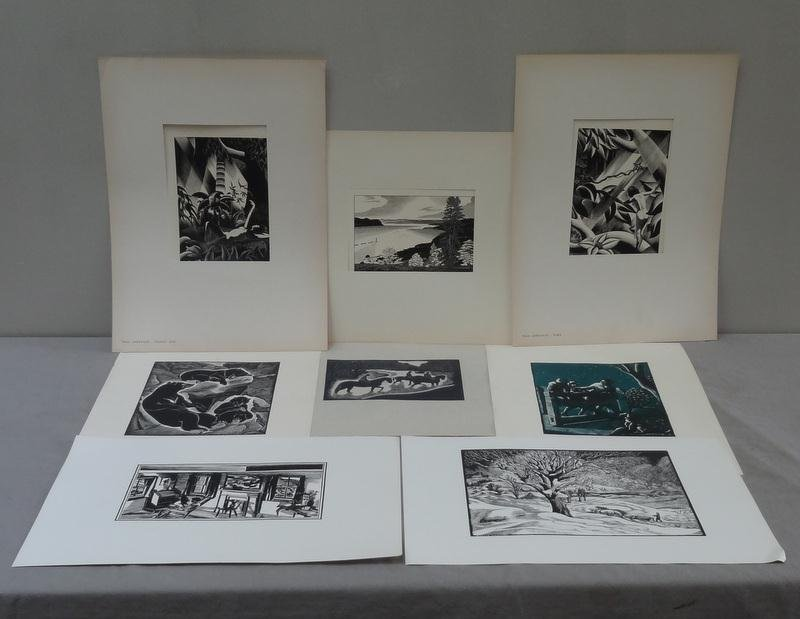 5: 8 American Artist Group Woodcut Prints.