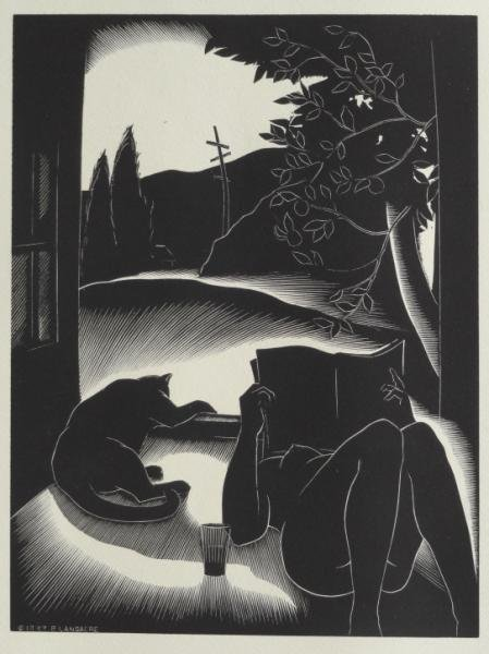 "6: LANDACRE, Paul. Wood Engraving ""Sultry Day."""