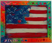 9: MAX, Peter. Serigraph. American Flag with Heart in