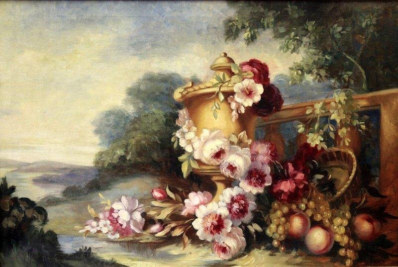 VONNE, Mary. Oil/Canvas Scenic Floral Still Life.