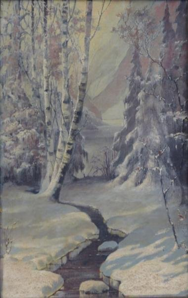 WEISS, H.A. Oil on Canvas. Winter Landscape.
