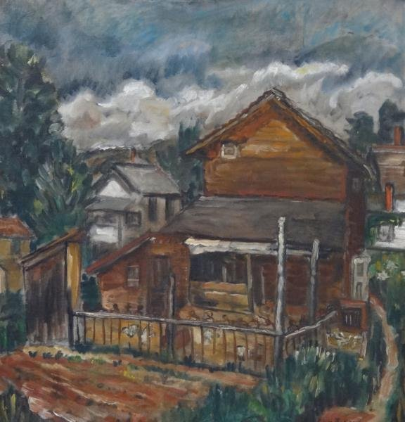 LUDINS, Eugene. Oil on Canvas of a House.