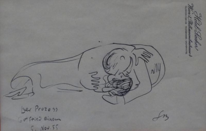 "BEMELMANS, Ludwig. 1955 Ink Drawing ""Der Prozess"""