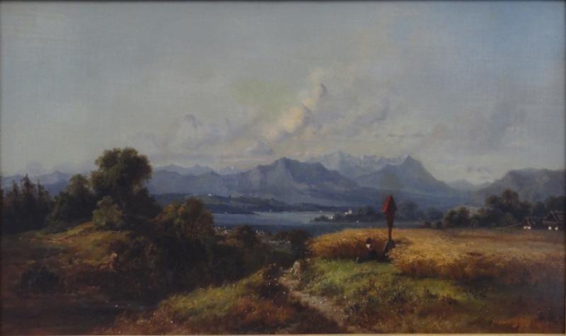 JUNICA, H. 19th C. O/C Landscape with Kneeling Figure.