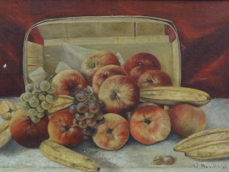NAVILLE, O. 1906 O/C Still Life with Apples & Bananas.