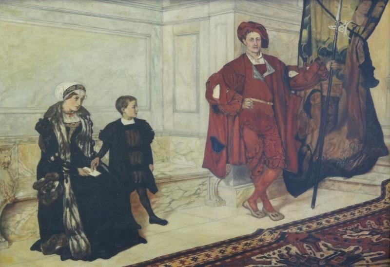 After Edmund Blair Leighton. O/C Interior Scene Woman,