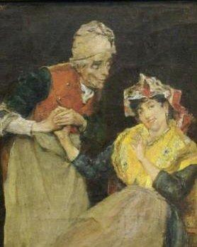 """ANDREOTTI, Federico. Oil/Canvas """"The Flirtation."""""""