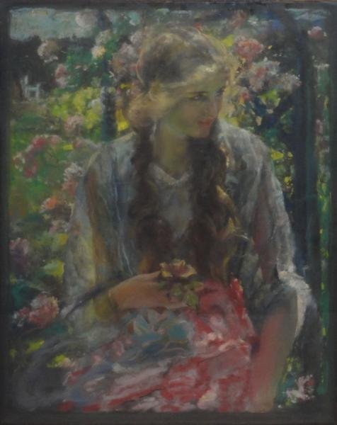 BECK, Walter Otto. Pastel of a Beauty in a Garden.