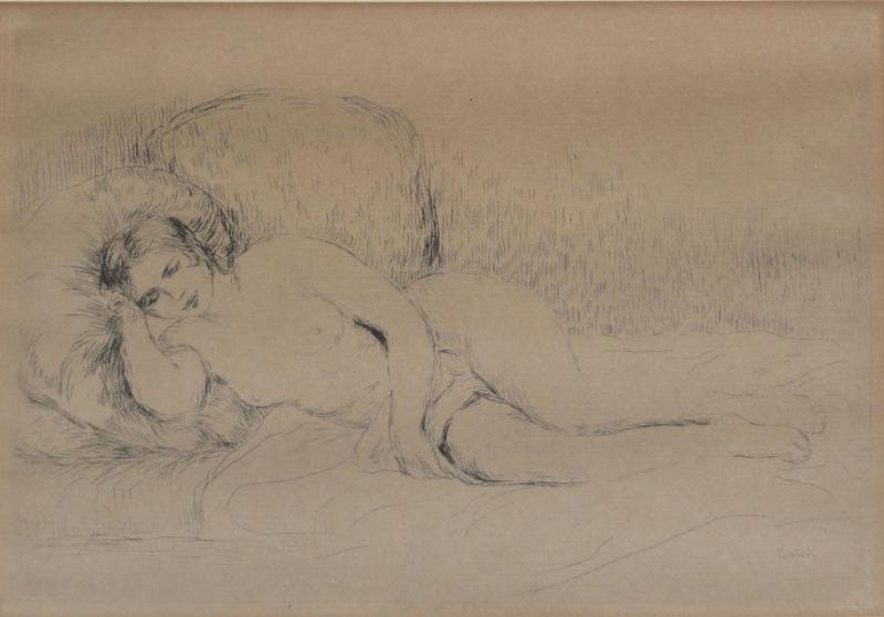 RENOIR. Etching of a Reclining Nude.