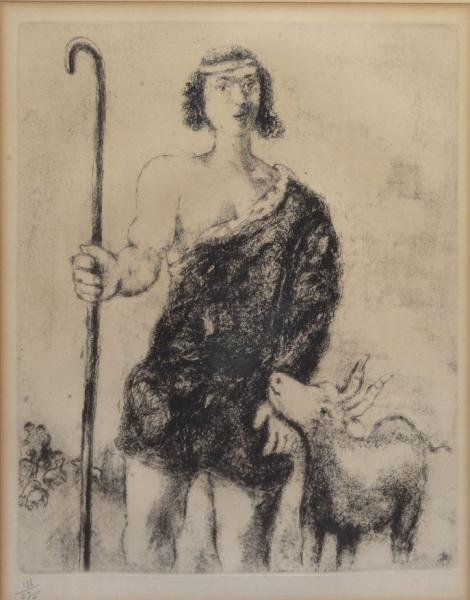 """CHAGALL, Marc. Etching """"The Young Shepherd."""""""