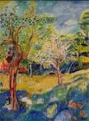 SOBEL, Jehudith. Oil on Canvas Lanscape.