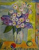 SOBEL, Jehudith. O/C Still Life with Flowers & Ladybug.