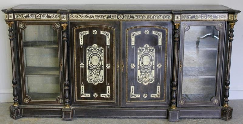 19th Century Ivory Inlaid Continental Cabinet