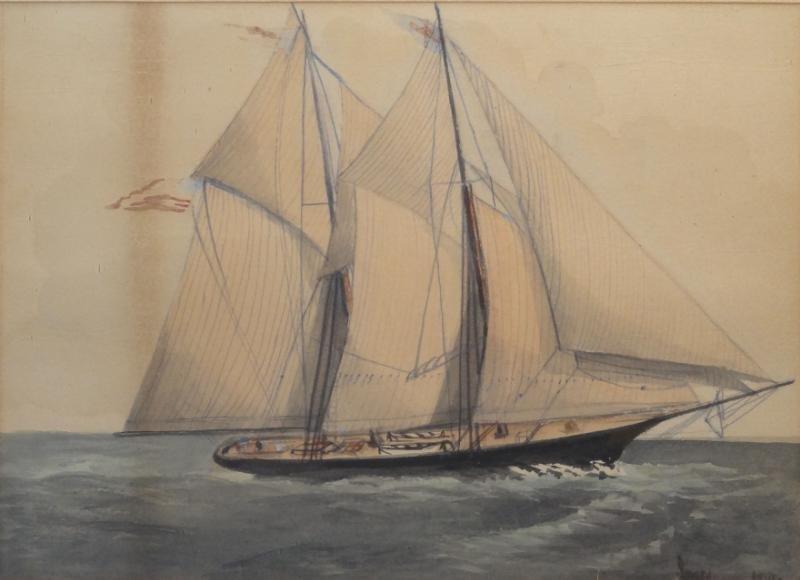 JONES. 1884 Watercolor & Pencil of a Clipper Ship.