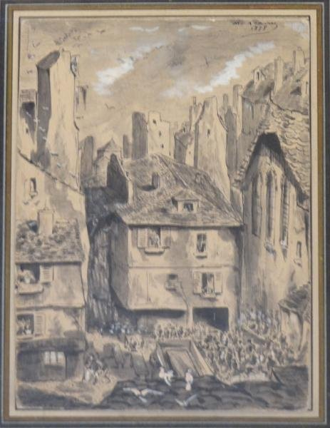 ADAMS, M. 1878 Pen, Ink & Wash Village Scene.