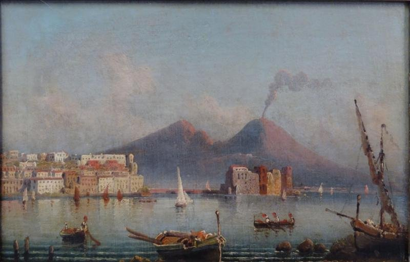 19th C. Oil on Canvas of Mount Vesuvius.