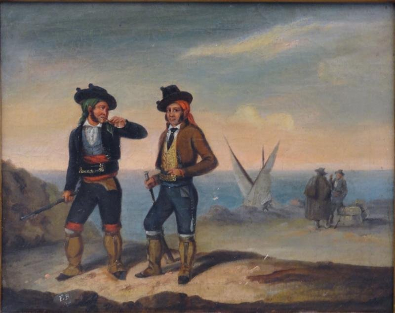 Initialed F.R. 1848 Oil/Canvas of Pirates on the