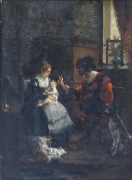 SEELDRAYERS, Emiel. Oil on Panel. Interior Family