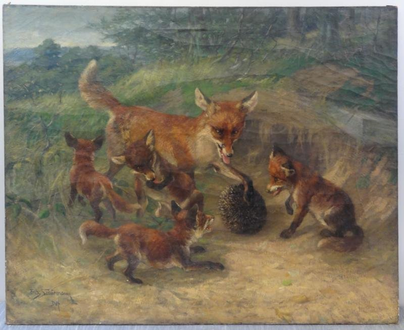 SCHURMANN, Fritz. Oil/Canvas of a Family of Foxes.