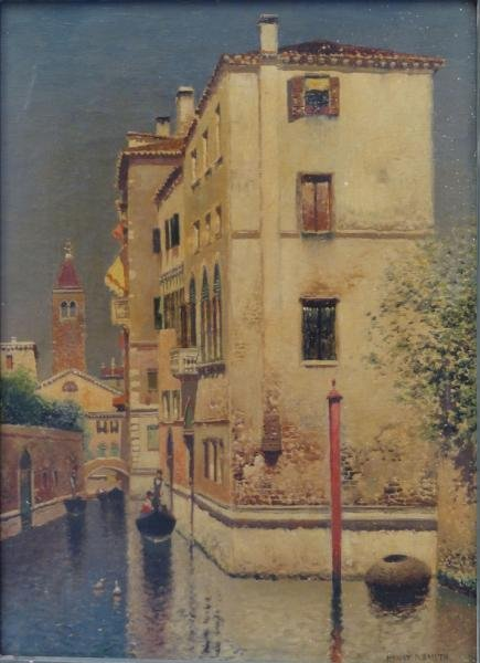 """SMITH, Henry Pember. Oil on Canvas """"A Canal in"""