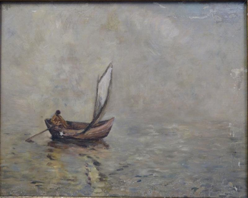 Oil on Canvas of Solitary Man in a Boat.