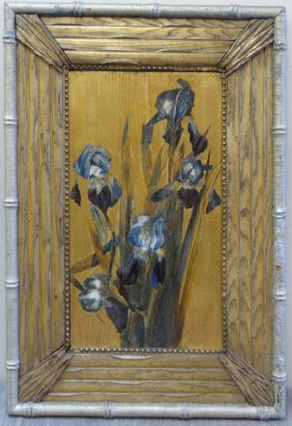 Gilt and Oil on Panel of Irises in a Whistler (?)