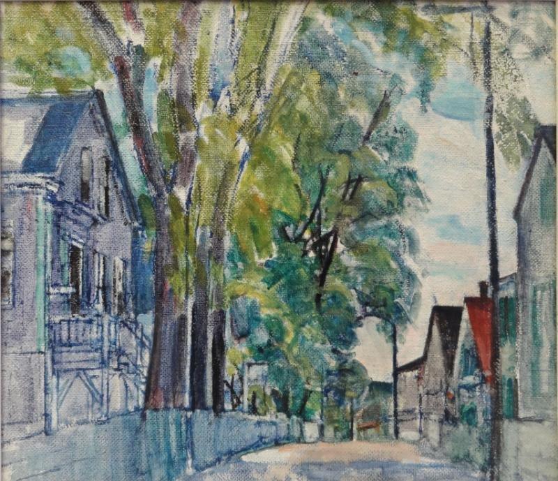 """FERGUSON, Nancy - Attr. Oil/Board """"Provincetown."""""""
