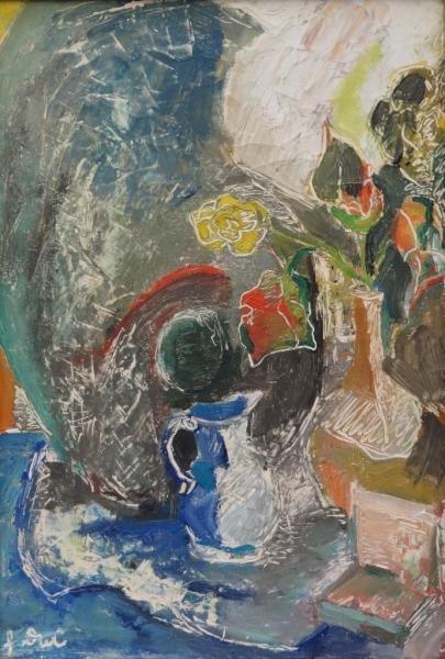 Signed Oil on Canvas Modernist Still Life.