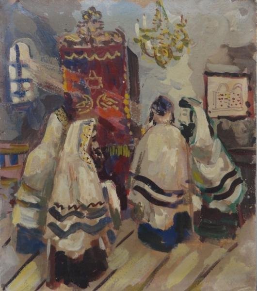 SCHOR, Ilya. Gouache of Rabbis at Temple.