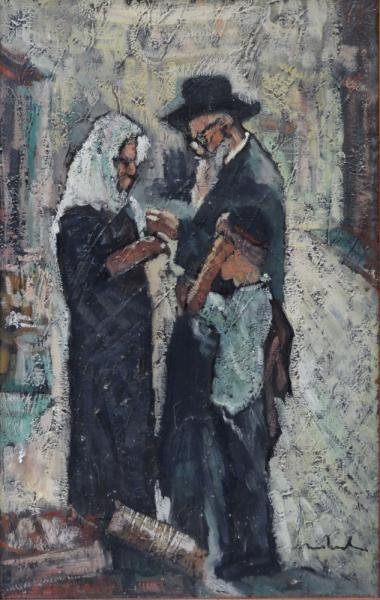 Signed Oil on Canvas of a Jewish Family.