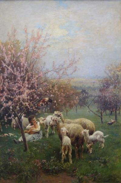"CHIALIVA, Luigi. Oil on Canvas ""Springtime."""