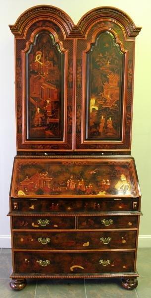 Chinoiserie Decorated Secretary Bookcase.