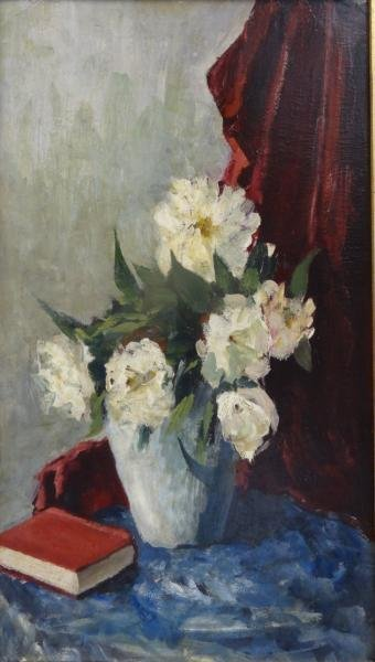 Oil on Board Still Life with Bouquet & Book.