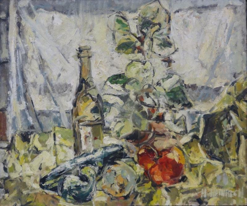 HEINRICH, H. Modernist Oil on Canvas Still Life.