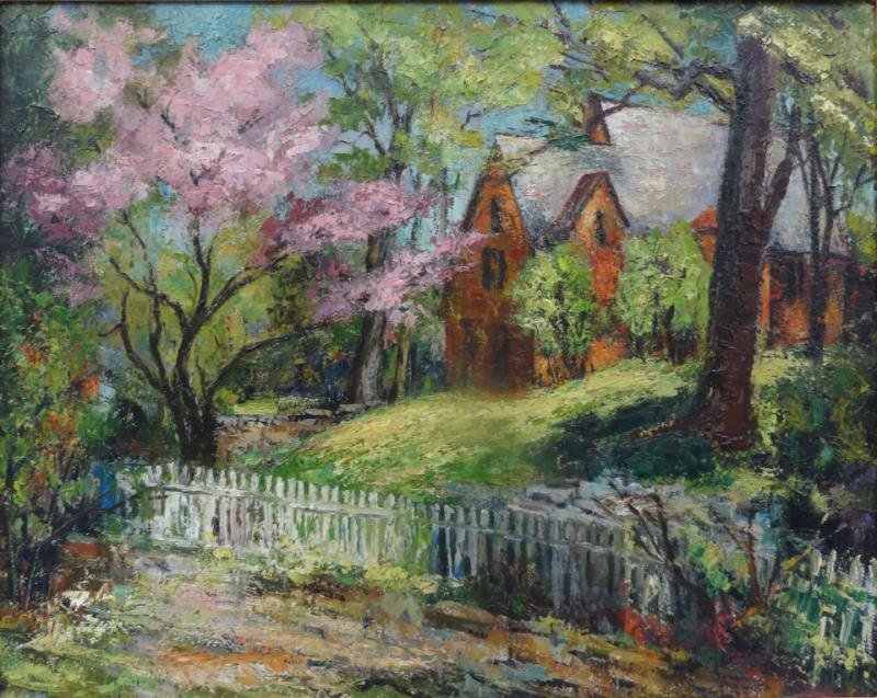 Impressionist Style Oil on Board Landscape with