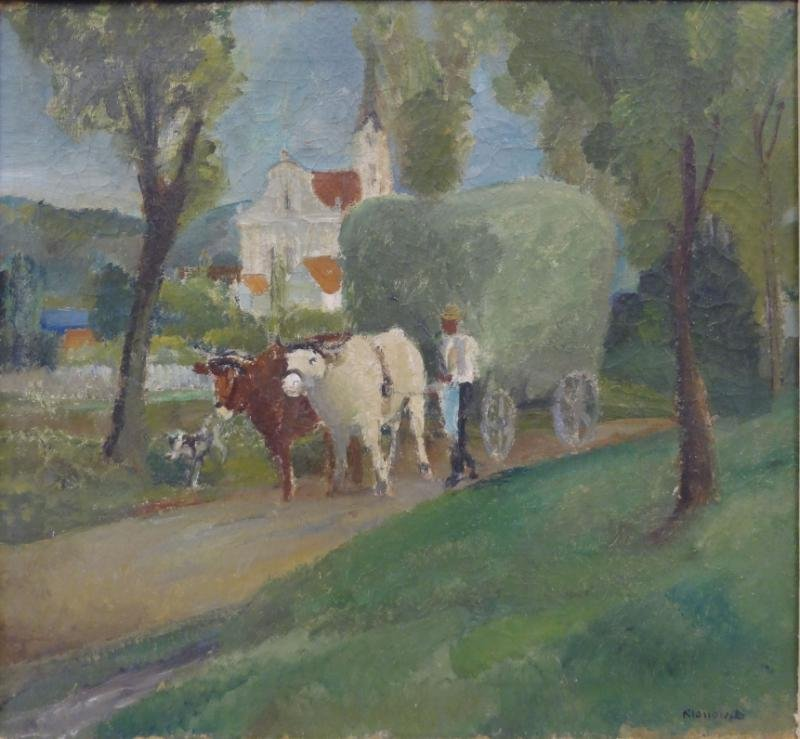 KLOSSOWSKI, Erich. Oil on Canvas of Ox-Drawn