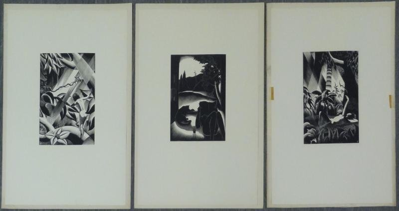 """LANDACRE, Paul. 3 Woodblock Prints. """"Sultry Day,"""""""