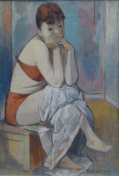 FILMUS, Tully. Oil on Canvas of a Seated Girl.